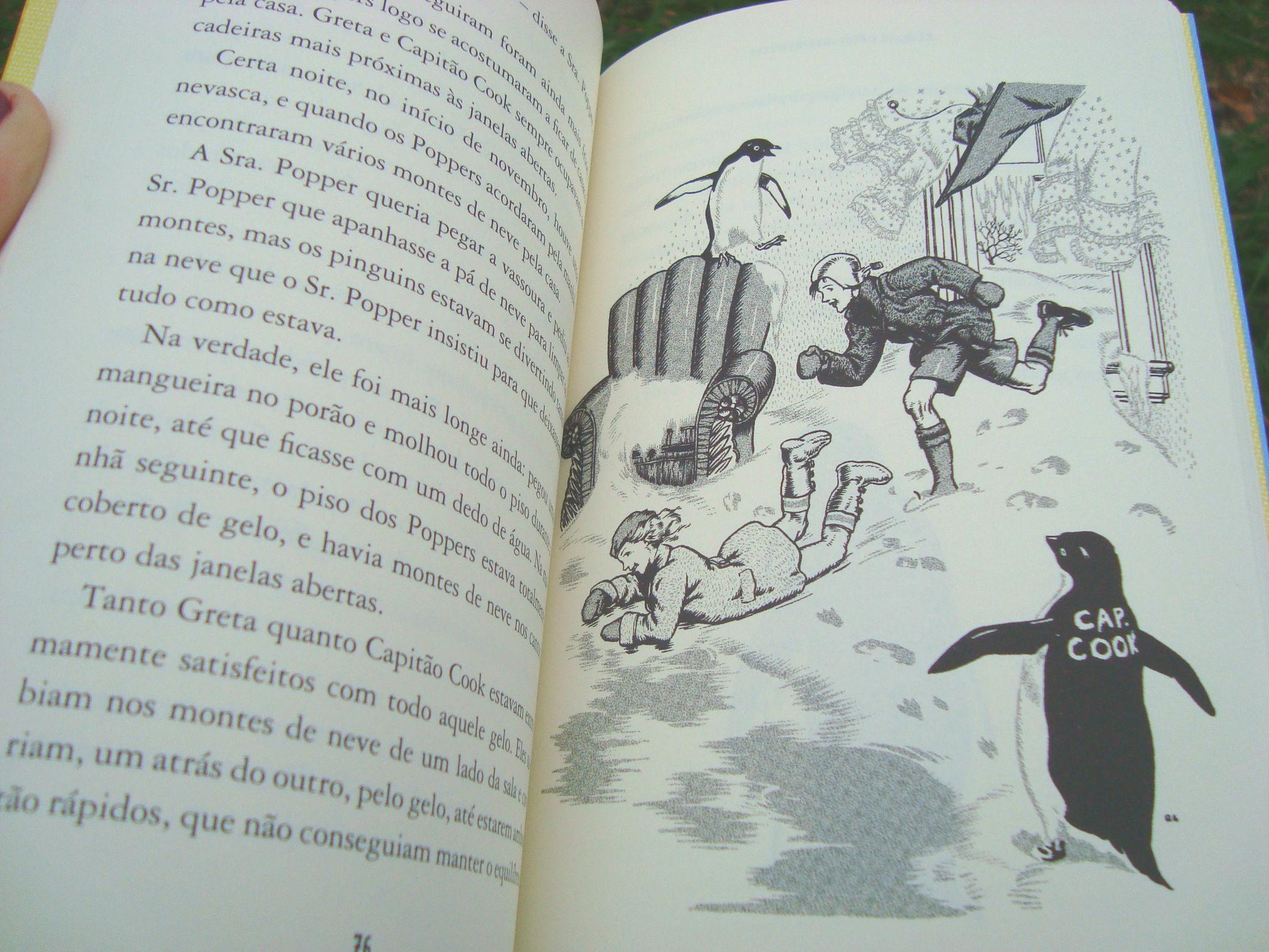 páginas do livro Os pinguins do Sr Popper
