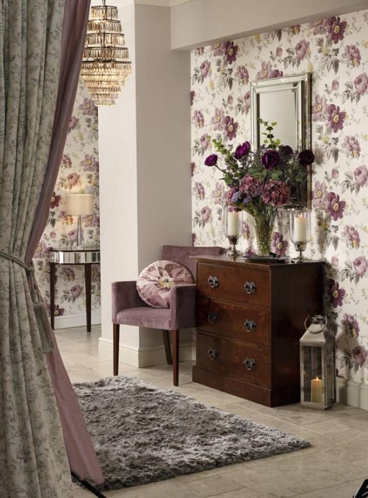 Papel de parede florido purpura