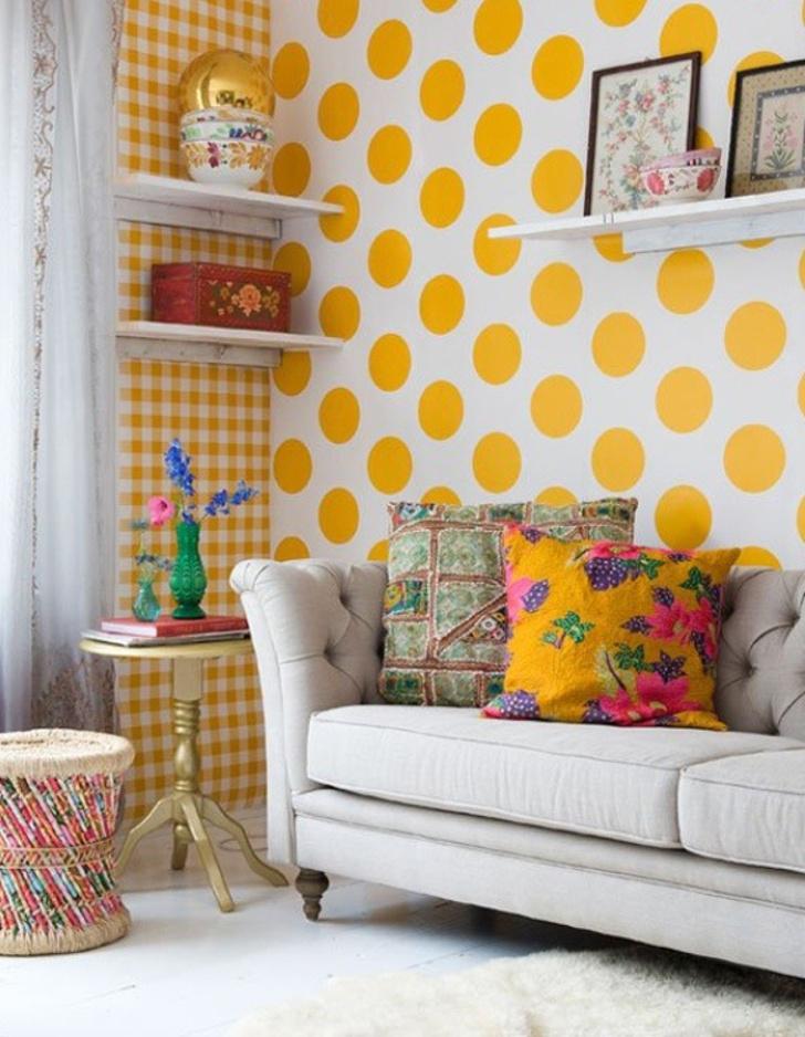 Papel de parede xadrez e com bolinhas amarelas