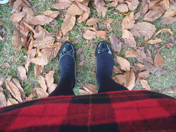 Saia xadrez preta e vermelha, sapatilha preta, meia calça preta e folhas de outono