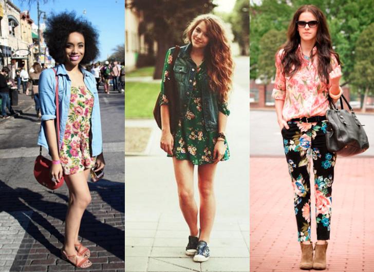 Look com estampa floral, mix de estampas e colete jeans com camisa jeans