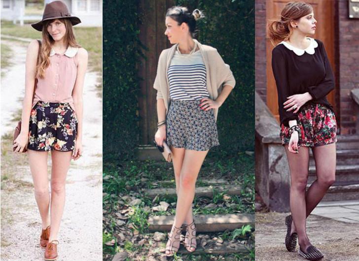Look com estampa floral, mix de estampas listrada e flora, chapéu com camisa regata e meia calça com shorts floral