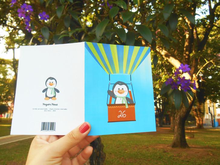 cartão de pinguim para o dia dos namorados
