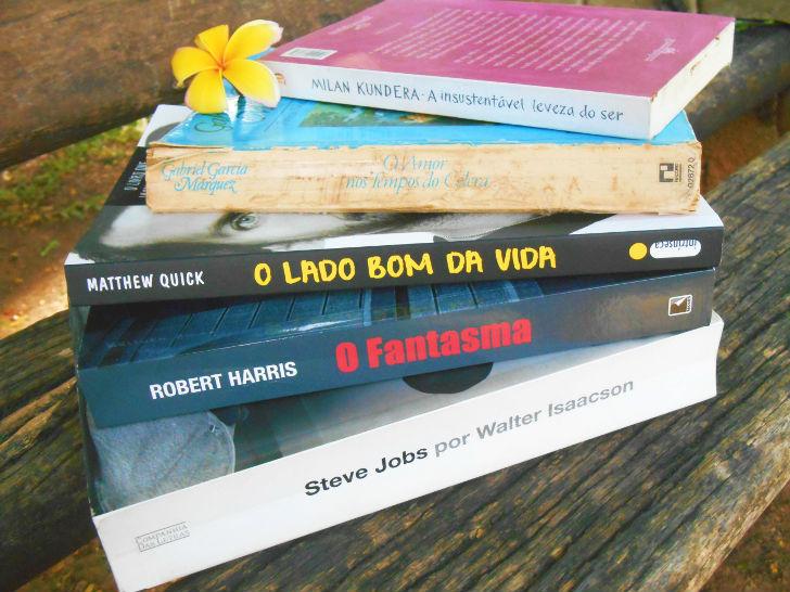 Lista de livros - O amor nos tempos do cólera; O lado bom da vida; O fantasma; A insustentavel leveza do ser; Biografia de Steve Jobs