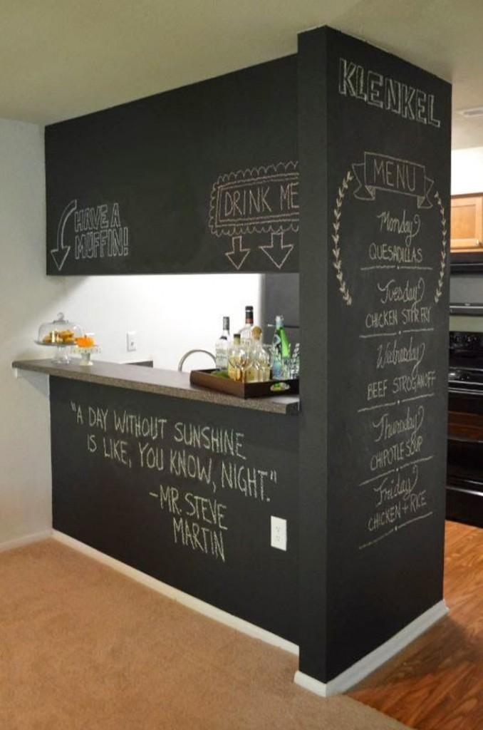 parede com tinta de losa para cozinha