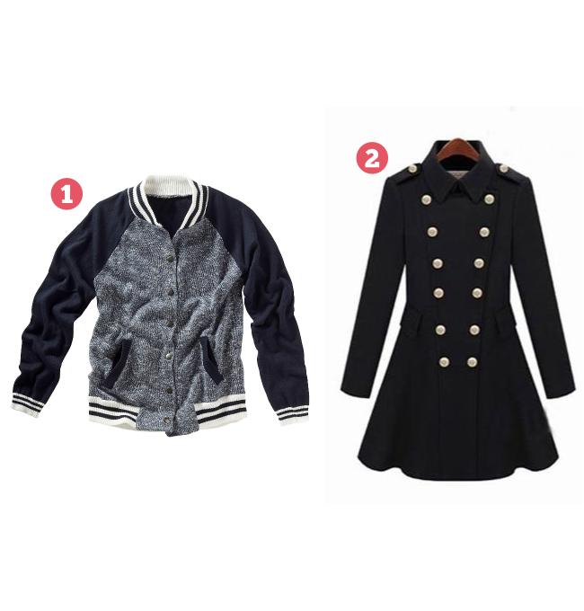 blusa college e  casaco estilo militar