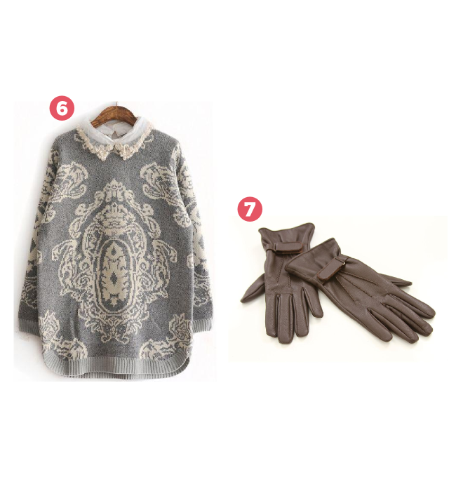 suéter vintage e luva de couro