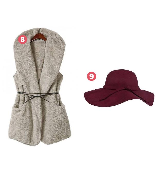 chapéu floppy e colete elegante