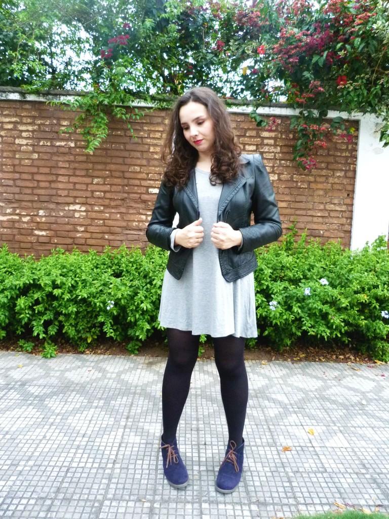 look: ankle boot, vestido e jaqueta