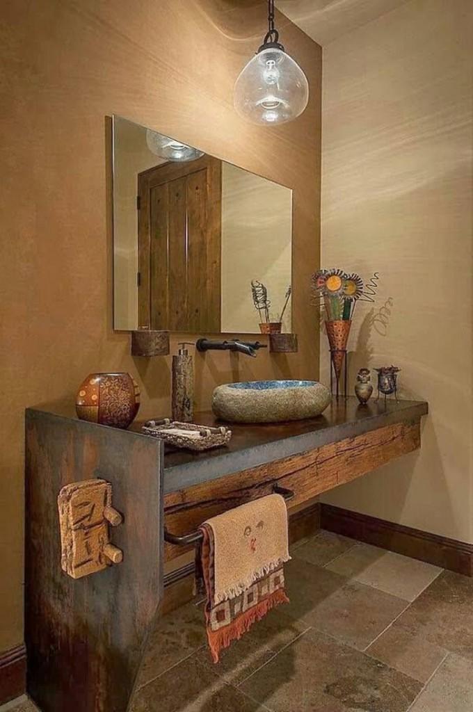 banheiro rustico - decoração banheiro