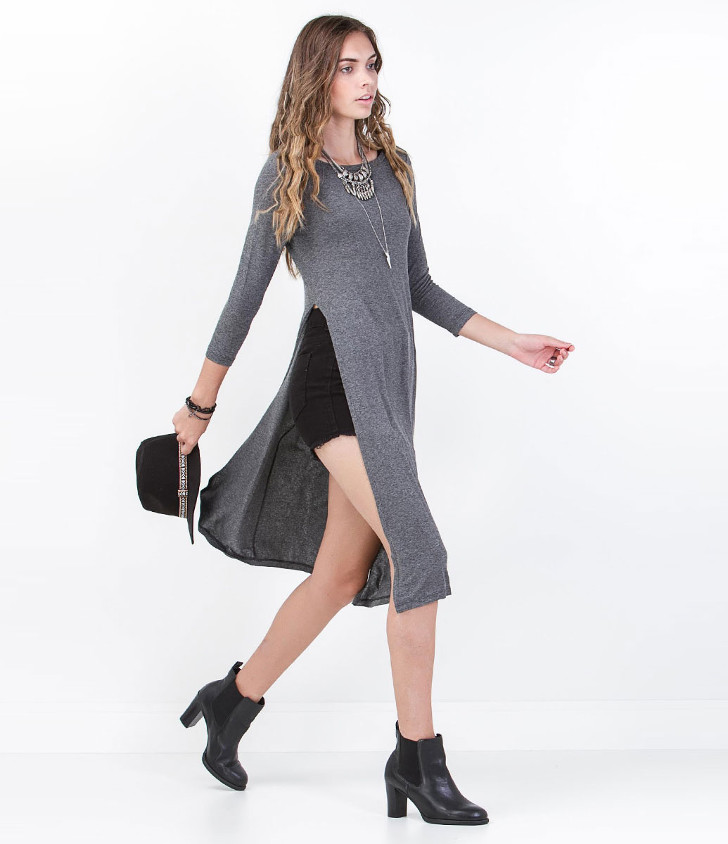 blusa cinza longa com fenda - lojas renner