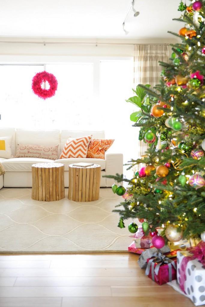 decoração colorida de natal - árvore de natal colorida