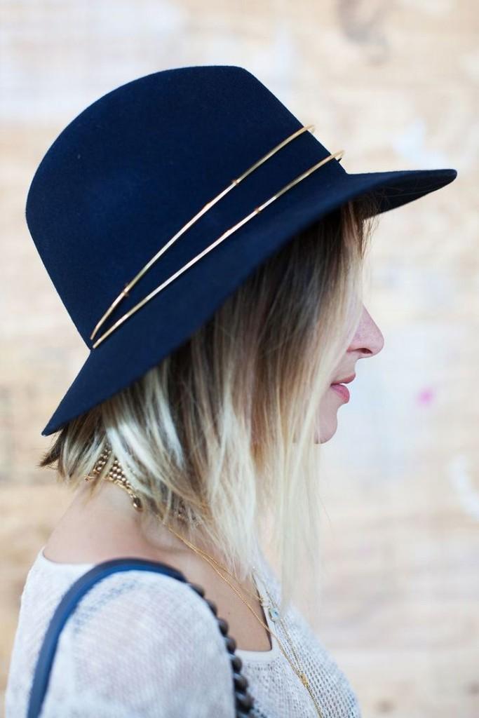 chapéu fedora azul