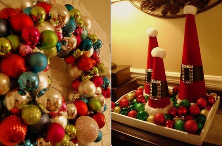 decoração de natal - bolas natalinas em arranjos e bandejas