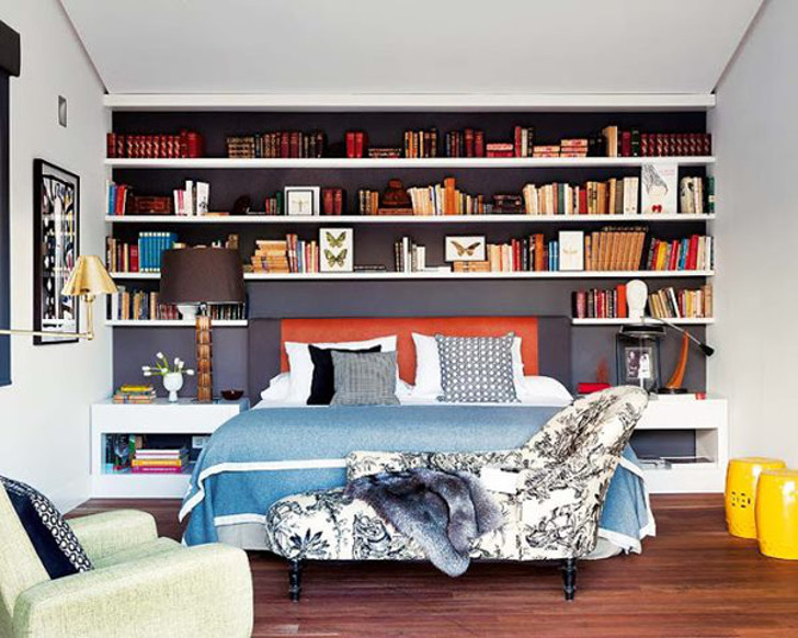 livros na decoração da cabeceira da cama - decoração no quarto