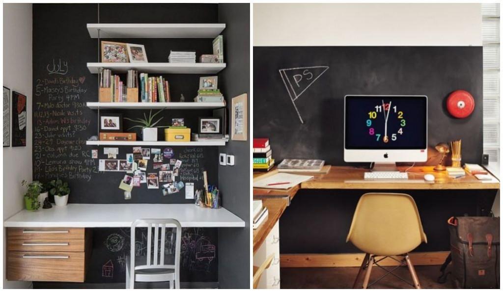 decoração - quadro negro no home office