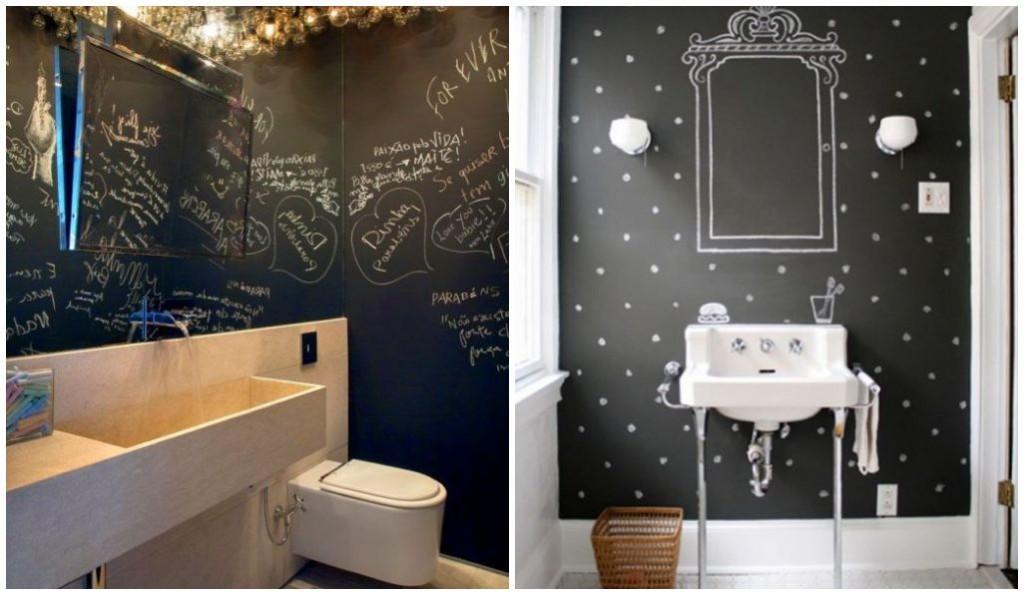 decoração - quadro negro no banheiro