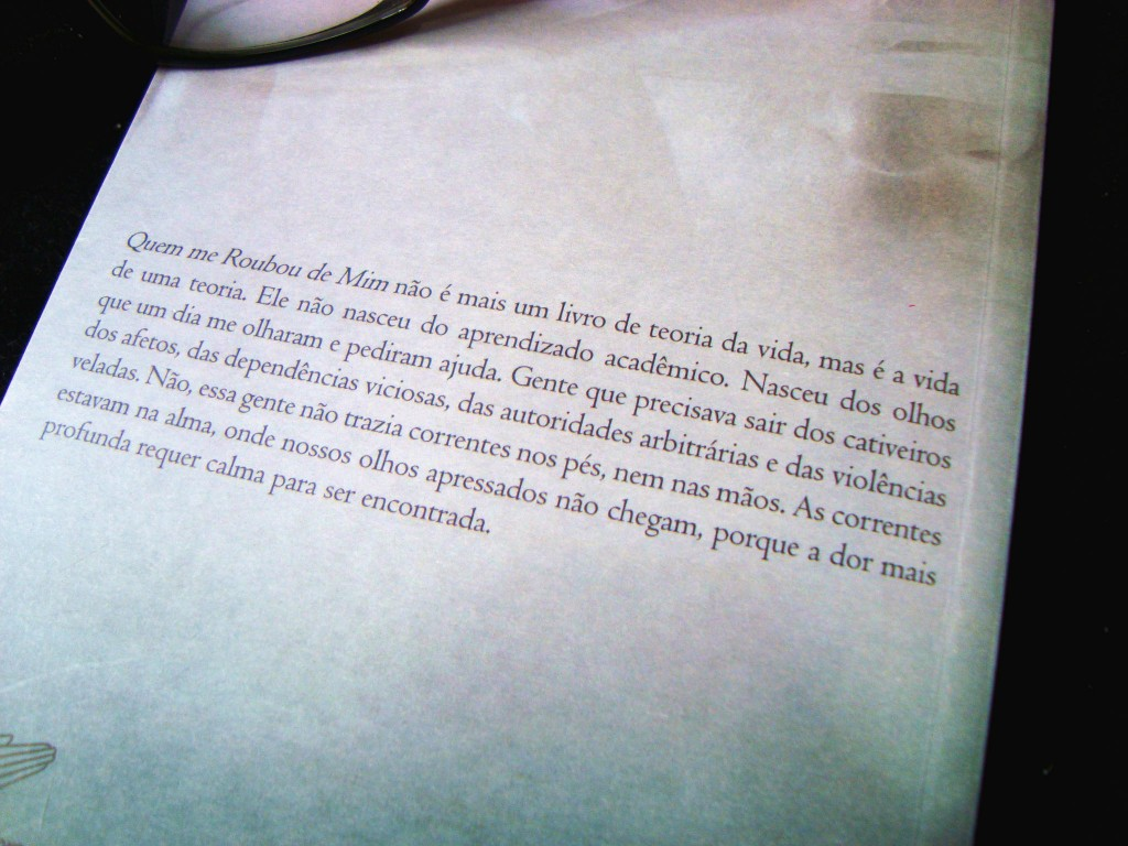 """Contra capa do livro """"Quem me roubou de mim?"""" de Fábio de Melo"""