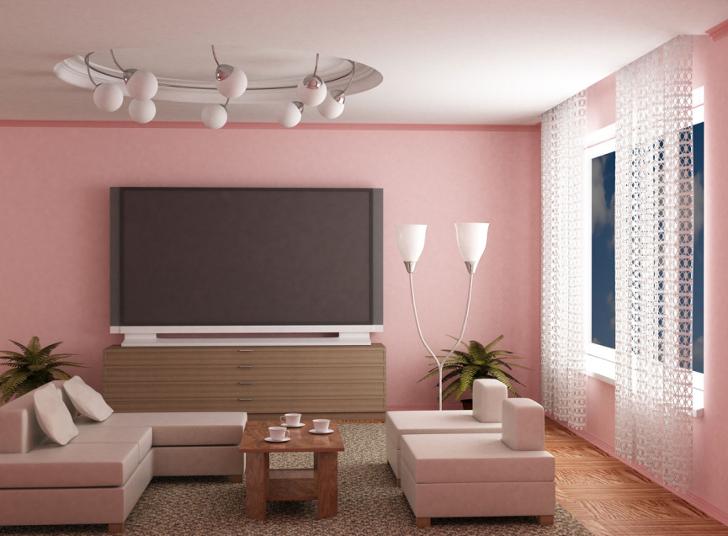 sala com rosa quartzo - decoração