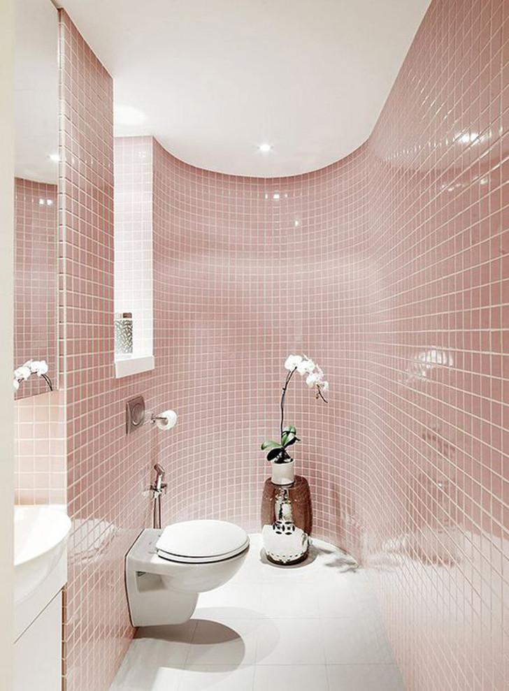 decoração de banheiro com rosa quartzo