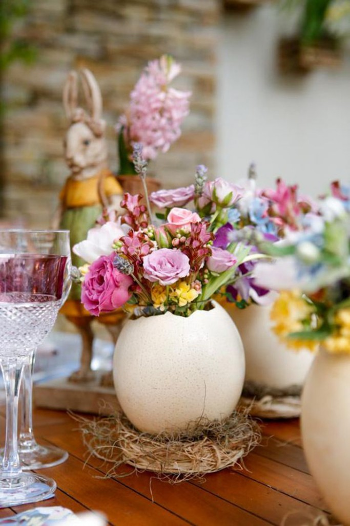 decoração de páscoa - casa de ovos com flores