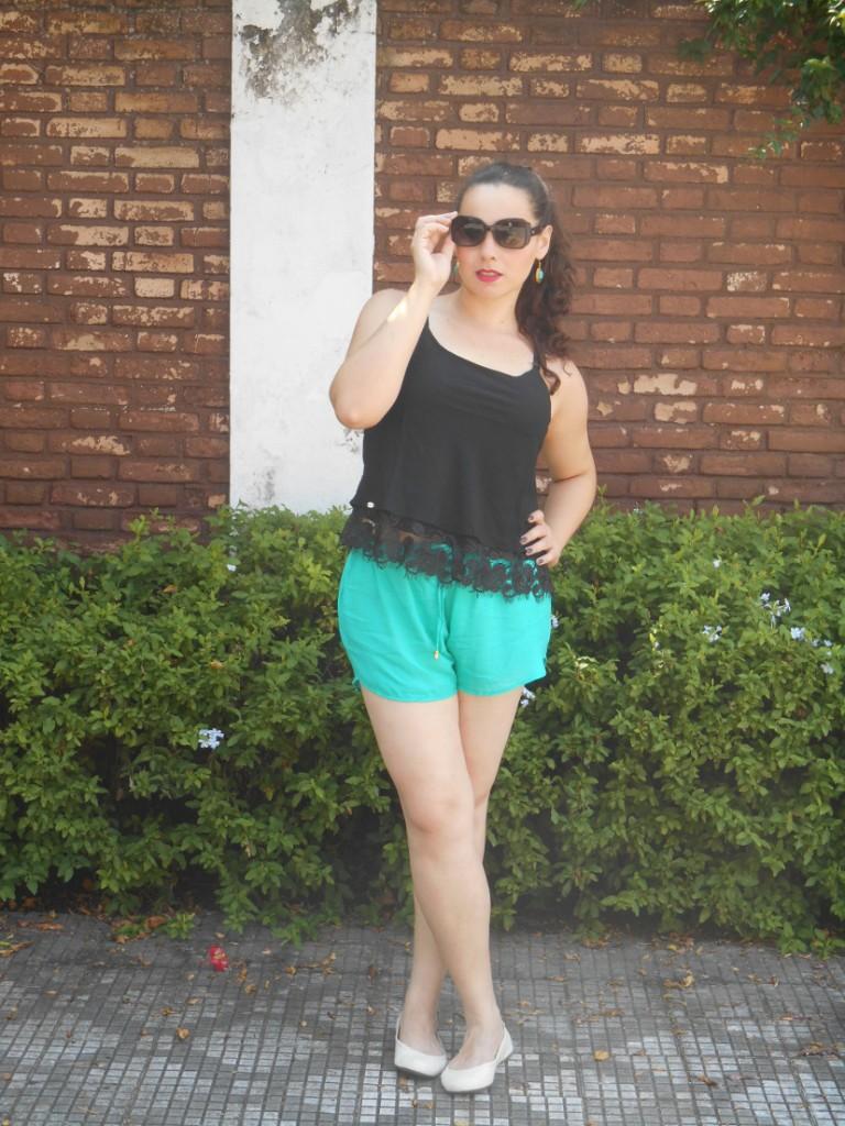 look - shorts verde água