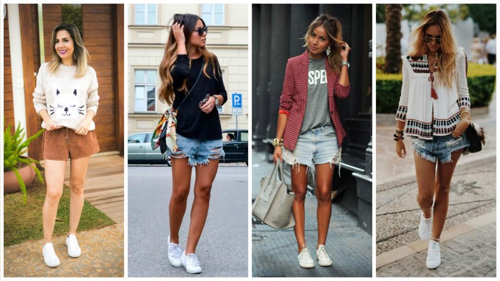 look com shorts e tênis