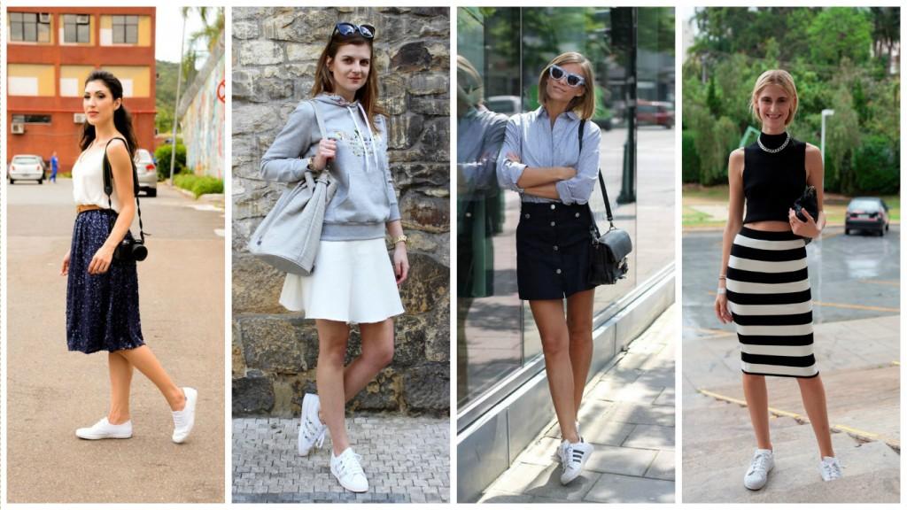 como usar tênis branco - look com saia