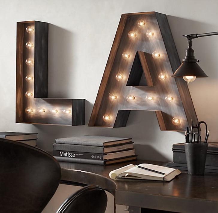 tipografia na decoração - marquee luminosa