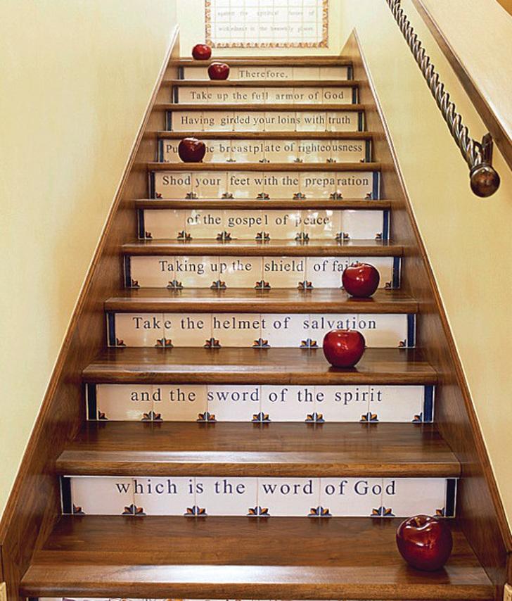 decor - frases nos degraus da escada - tipografia