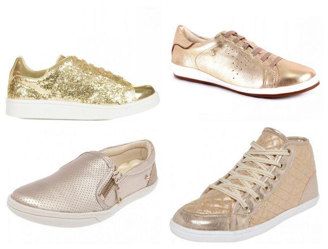 tênis dourado - modelos - onde comprar