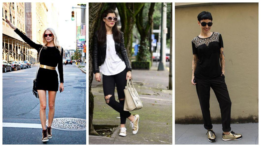 look all black com tênis dourado - como usar