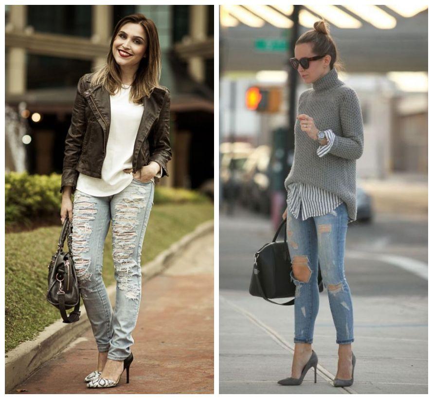 como usar jeans destroyed com scarpin