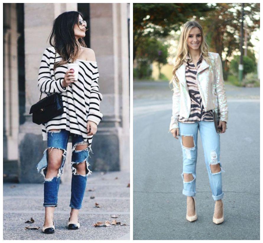 looks com jeans destruído