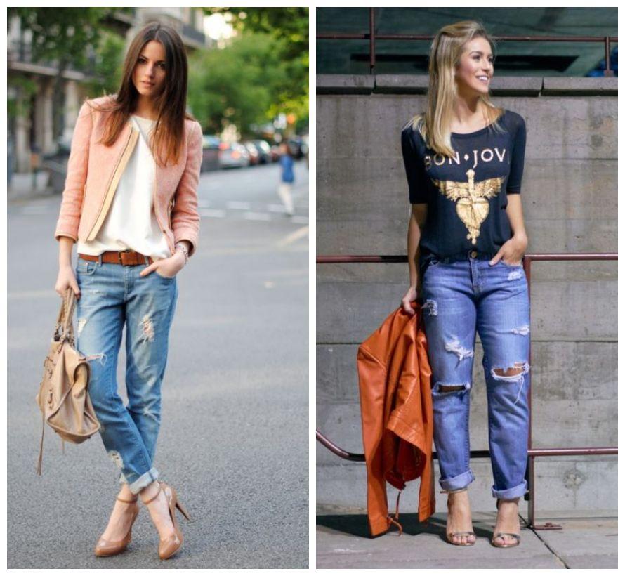 jeans destroyed com salto - look