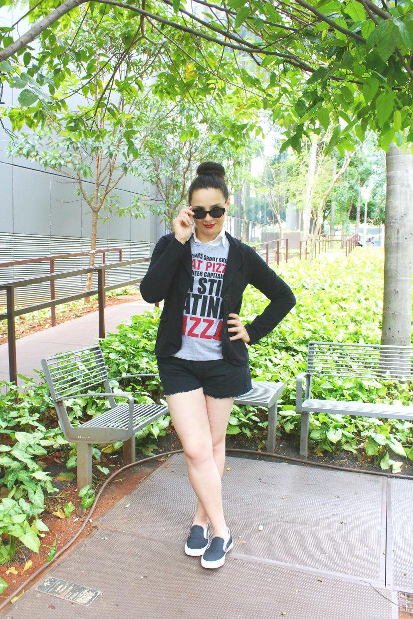 inspiração - blazer com shorts e tênis - como usar