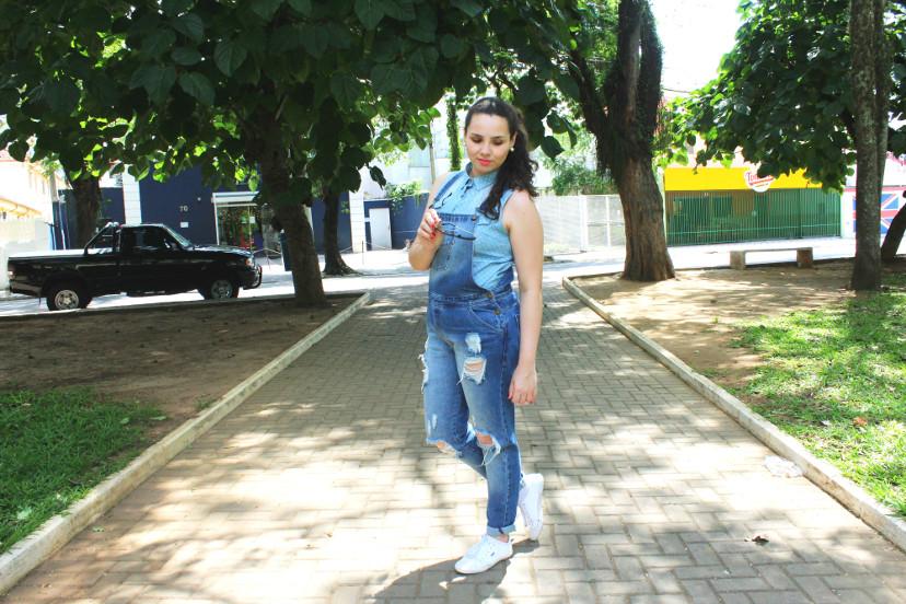 look all jeans - look com macacão jeans