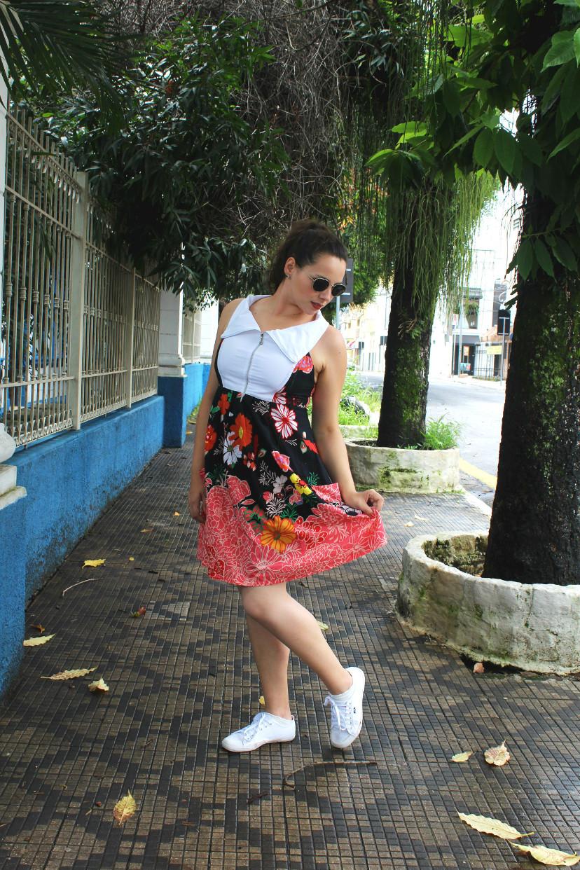 look - vestido com estampa floral