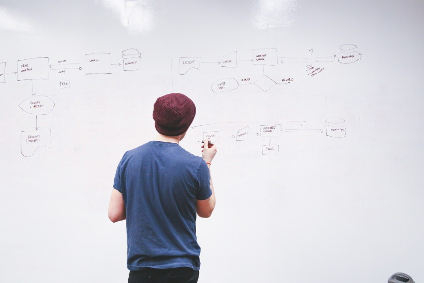 Rapaz escreve diagramas em lousa branca fazendo planos