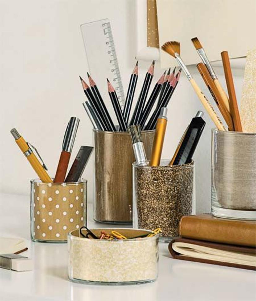 decoração - porta canetas dourado