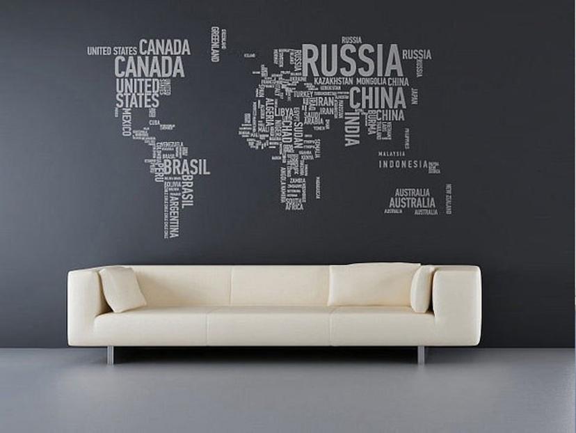 decoração com mapa mundi