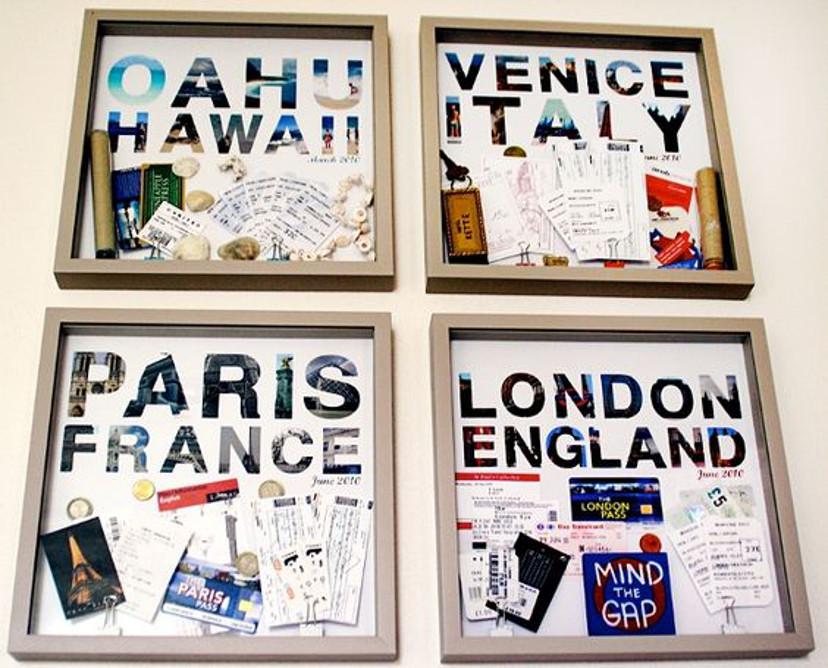 como decorar com quadros de viagem