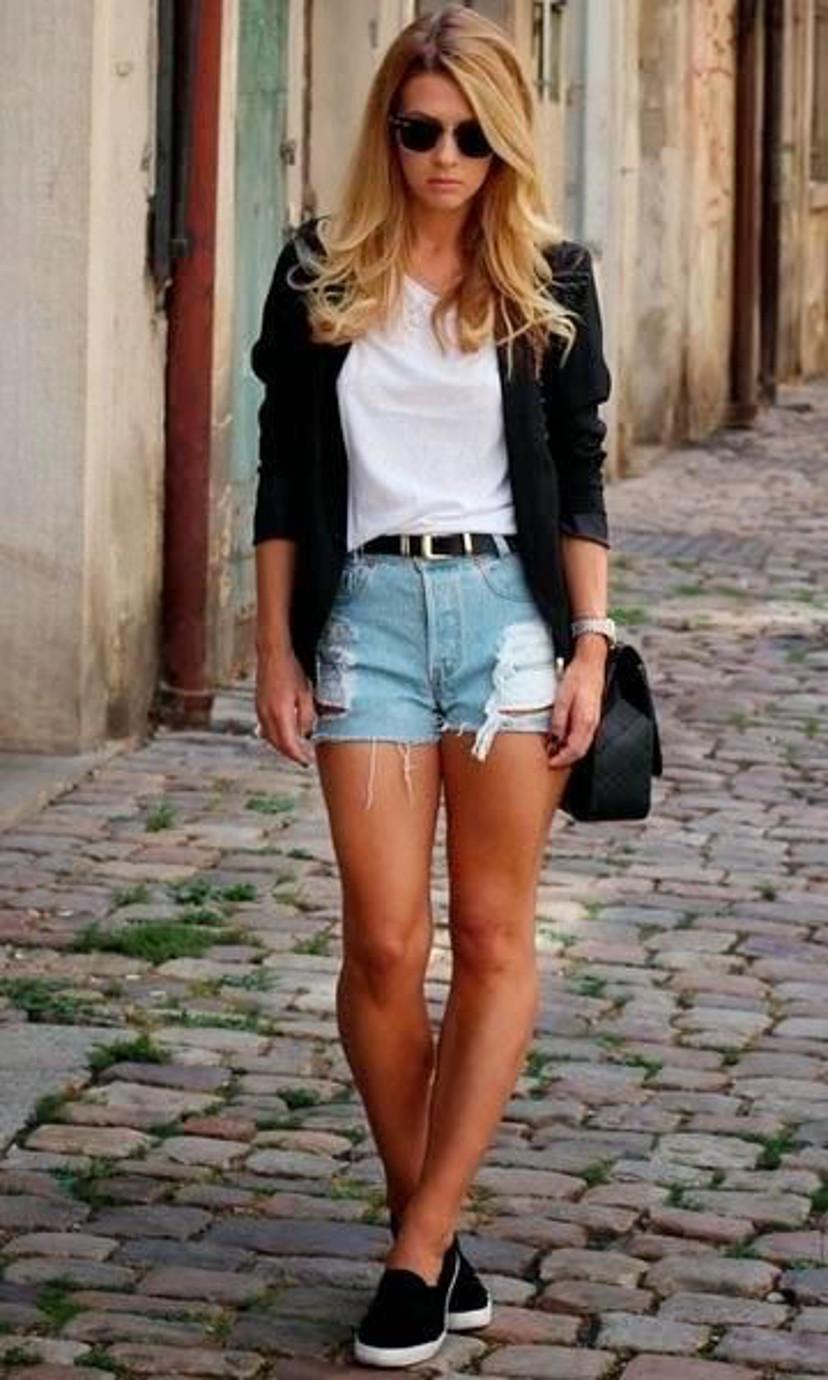 como usar blazer com shorts jeans
