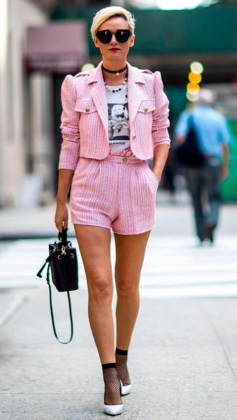 look com conjunto rosa