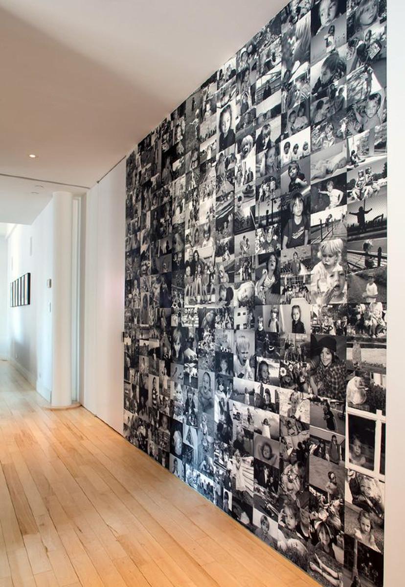 decoração com papel de parede de fotos