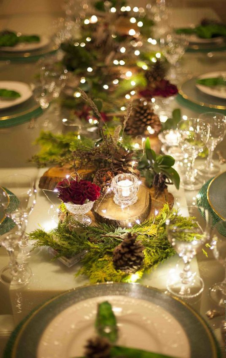 Arranjo central para mesa de natal