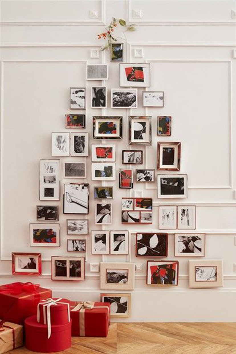 decoração de árvore de natal de quadro