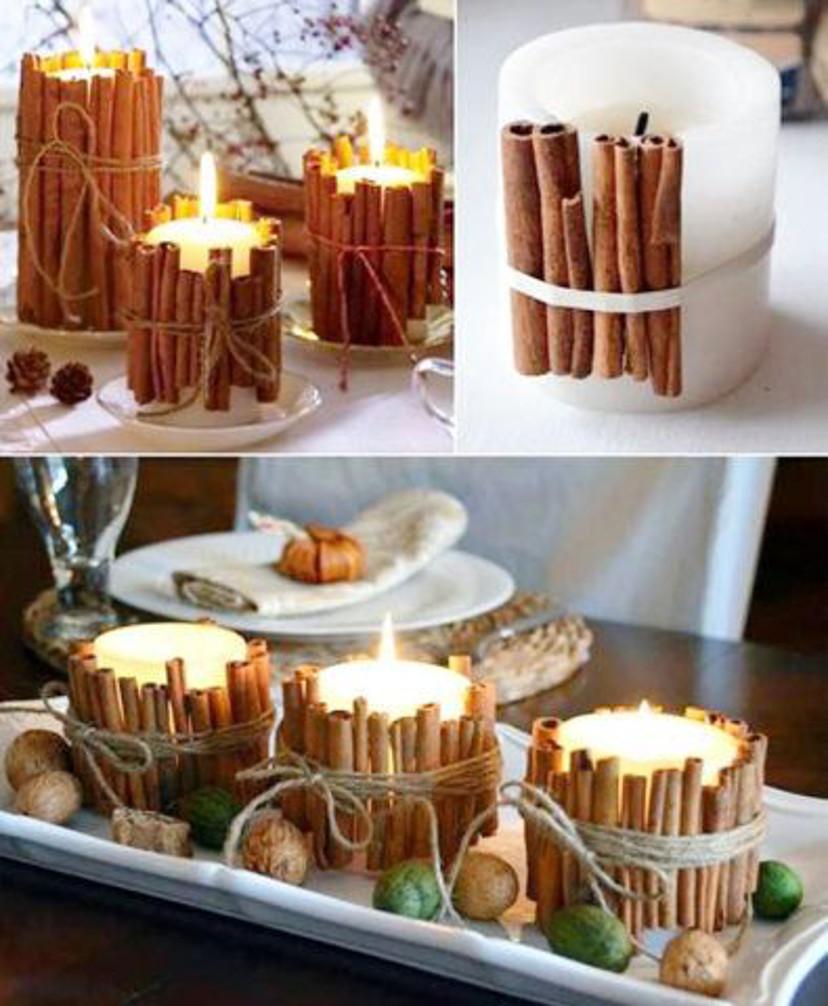 Decoração de natal com vela e pau de canela