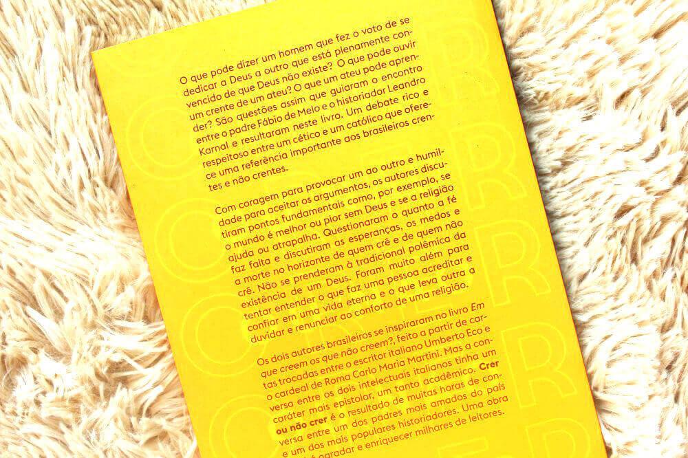 Contra capa do livro - Crer ou Não Crer