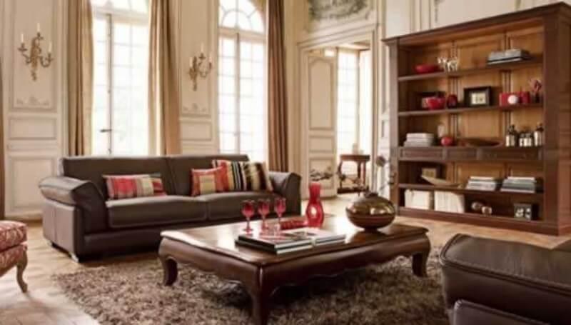 decoração sala de estar com estante de madeira